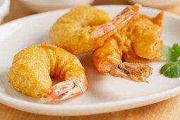 Prawns in tempura batter
