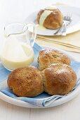 Rohrnudeln (sweet yeast dumplings) with custard