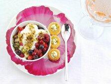 Berries with pistachio crumbs