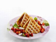 Goat's cream cheese waffles with strawberries and basil