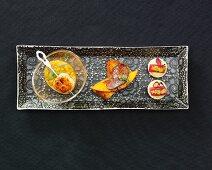 Scallop, duck liver and tuna fish starters
