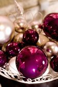 Pink Christmas tree baubles