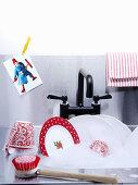 Crockery in a sink