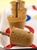 Liquorice ice cream on sticks