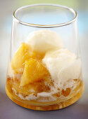 Pineapple compote with pineapple ice cream