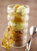 Rhubarb and pistachio trifle with pistachio ice cream