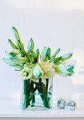 Amaryllis and Christmas tree baubles