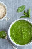 Freshly Made Spinach and Mint Pesto in a Bowl; From Above