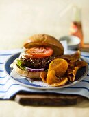 Beef burger with butternut chips