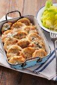 Napkin dumplings au gratin