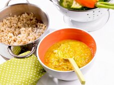 Rice with broccoli and carrots (baby food)