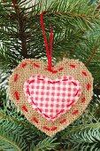 A jute Christmas tree ornament