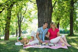 Paar beim Picknick unter einem Baum