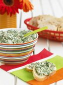 Spinach Dip Spread on Two Slices of Bread; Spinach Dip; Bread Slices