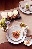 Papaya and courgette tartar