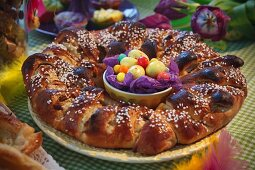 Easter ring with almond filling