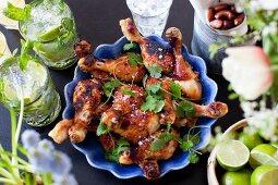 Chicken legs with sweet chilli marinade
