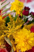 Summer bouquet with yellow dahlias