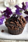 Chocolate muffin with crumble topping