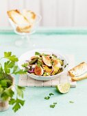 Salad with fried avocado