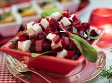 Beetroot salad with sheep's cheese for Christmas