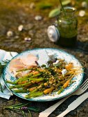 Carrot salad with salsa verde