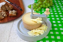 Tete de Moine (cheese from Jura, Switzerland) with a girolle
