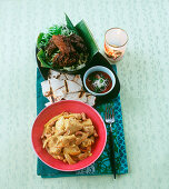 Chicken korma, crispy bread, Sechuan duck and a soy and onion dip