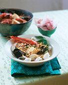 Laksa (seafood soup with rice noodles)