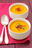 Cream of carrot soup with chilli