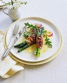 Pancetta and asparagus rolls