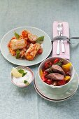 Lamb with peppers and chicken roulade with tomato rice