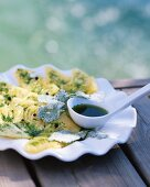 Pineapple carpaccio with frozen and fresh and liquid coriander sauce