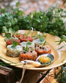 Fish tartae made of several varieties of fish with herbs and raw egg yolk on herb sauce