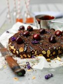 Chocolate cake with cherries