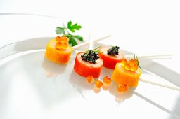 Prawn lollies with caviar