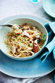 Spaghettini with crab meat, garlic and chili