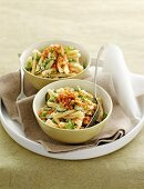 Pasta with spring vegetables and goat's cheese