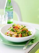 Thai rice noodle salad with vegetables and seafood