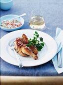 Grilled spring chicken with garlic and chilli salt