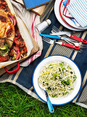 A fennel and cabbage salad and chicken for a picnic