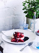 Warm manouri sheep's cheese with strawberry compote (Greece)
