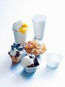 Various ice cream sundaes