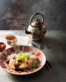 Baked eggs with soy sauce and chilli (China)