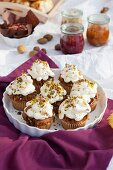 Cupcakes with pistachios for autumn picnic