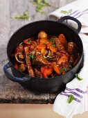 Beef ragout with mushrooms and carrots