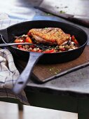 Fried duck breast with mushrooms and tomatoes