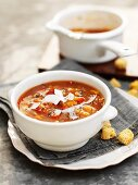 Sweet potato and pepper soup with coconut