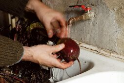 Beetroot being washed