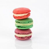 Tower made of three different macarons